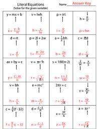 literal equations worksheet equation worksheets and students