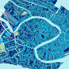 Map Of Venice Venice Map Print Italy Blue U2013 Maps As Art