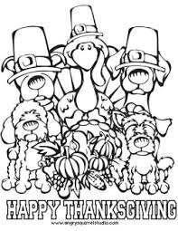 free printable thanksgiving coloring dogs turkey woof