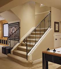 basement stair with metal handrail tips to build basement stairs