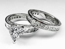 bridal set wedding rings engagement ring trillion diamond bridal set engagement ring