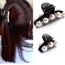 hair claws 5pcs black rhinestone girl barrettes headwear women hairpins pearl