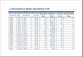 Excel Inventory Templates Convenience Store Inventory List Template Ms Excel Excel Templates