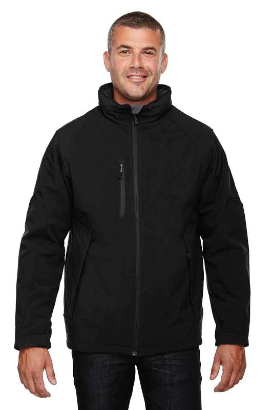 North End 88159 Glacier Insulated Three-Layer Fleece Bonded Soft Shell Jacket with Detachable Hood in Black