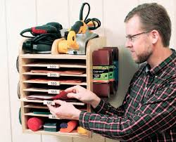 shop sandpaper and abrasives shelving organizer free woodworking