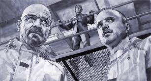 wallpapers from ink painting of walt gus and jesse by request