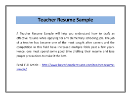 Resume Samples For Teaching by Teacher Resume Sample Pdf