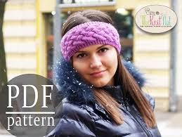knitted headband pattern instant knitting pattern chunky braid cable pattern