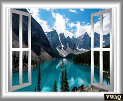mountain view 3d window frame wall mural water scene sticker zoom