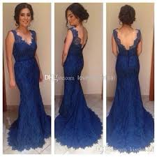 2015 royal blue lace evening dresses v neck backless mermaid sweep