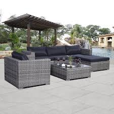 costway 6pc patio sofa furniture set pe rattan couch outdoor