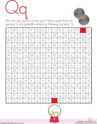 letter maze q worksheet education com