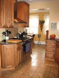 Kitchen Galley Galley Shaped Kitchen With Maple Cabinets Mixed Yellow Wall Color