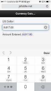 html input pattern safari javascript force ios numeric keyboard with custom currency