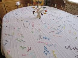 family s thanksgiving tablecloth has 16 years of signatures abc news