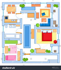 simple floor simple floor plan house top view stock illustration 700064461