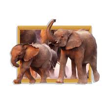 latest amazing 3d elephants wall stickers home decor for kids room