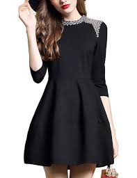 danmunier women u0027s 3 4 sleeve fit and flare beaded casual cocktail
