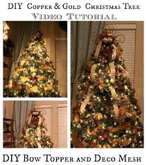 decorate tree tutorial with bow topper and deco mesh