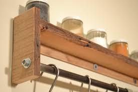 Wooden Wall Mount Spice Rack Pot Rack Wall Shelf Spice Rack Reclaimed Wood Pot Rack Free