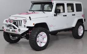 white and pink jeep custom pink rims bay city charlotte cozot cars