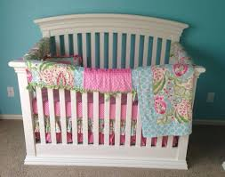 Pink And Aqua Crib Bedding Babies Custom Crib Bedding