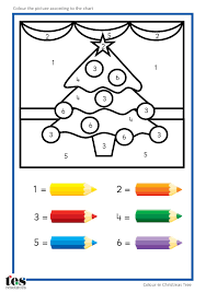 simple colour by numbers christmas pictures with clear visuals