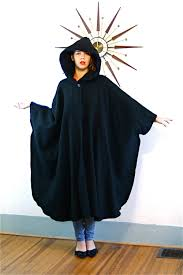 cape designs vintage black wool hooded cape maine maid designs long thick warm