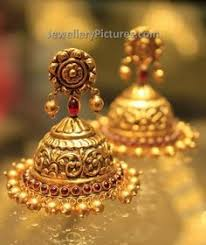 temple design gold earrings looking and length 22 carat gold earrings buttalu in