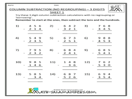 subtraction without regrouping worksheets grade 3 addition and subtraction without regrouping lesson plans worksheets