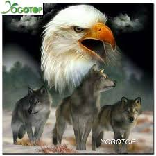 yogotop 5d painting cross stitch eagle and wolf