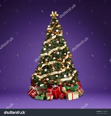 Decorate Christmas Tree With Ribbon by Christmas Tree With Lights And Decorations Christmas Lights