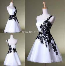 one shoulder black lace white homecoming dress cheap short mini
