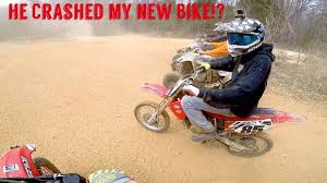 where can i ride my motocross bike let my friend ride my dirt bike and he crashed it youtube