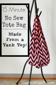 15 minute no sew tote bag made from a tank top sew tote bags