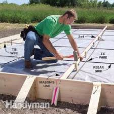 How To Build A Cement Patio Concrete Forms And Pouring A Concrete Slab Family Handyman