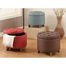 20 inch tufted top upholstered round storage ottoman free