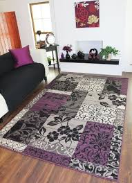 Patchwork Area Rug Milan Purple Black Grey Patchwork Area Rug 1568 H33 5 Sizes