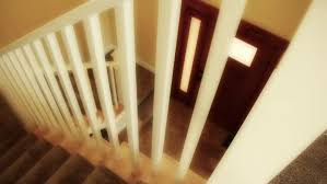 Banister Clips A Dolly Shot Of Carpeted Stairs In A New Home Stock Footage Video