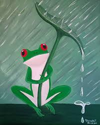paint nite oh my frog it u0027s raining paint at home pinterest