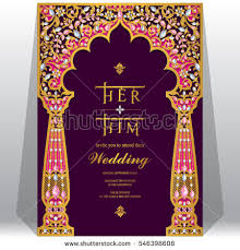 indian wedding card templates indian wedding invitation card templates gold stock vector