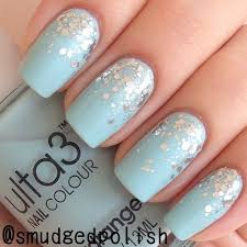 nail designs with light blue blue silver and white nails