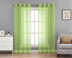 sheer window curtain 2 pcs grommet panels lime green 54