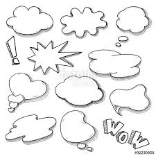 vector speech bubble set in comics style hand drawn sketch