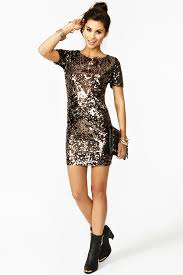 nasty gal solid gold sequin dress in metallic lyst