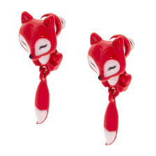 claires earrings small fox front and back earrings s us
