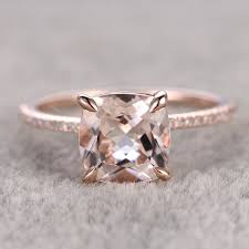 gold and morganite ring 8mm morganite rings for women ring engagement ring 14k