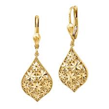 gold earings 14kt yellow gold diamond cut flower earrings