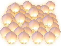 lanterne de sol en papier lot de 50 lanternes volantes blanches blanc surprise fête mariage