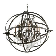 Lighting Crystal Orb Chandelier Pendant Light Vintage Bronze Finish
